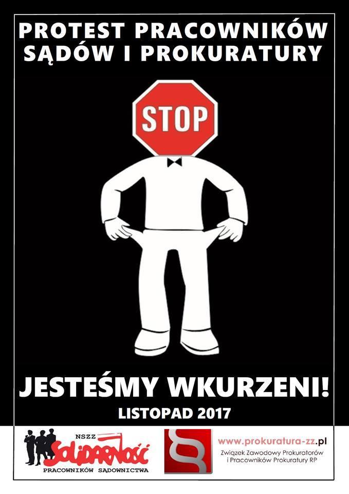 Pracownicy prokuratury i sądów strajkują pod Kancelarią Prezesa Rady Ministrów. Chcą podwyżek.